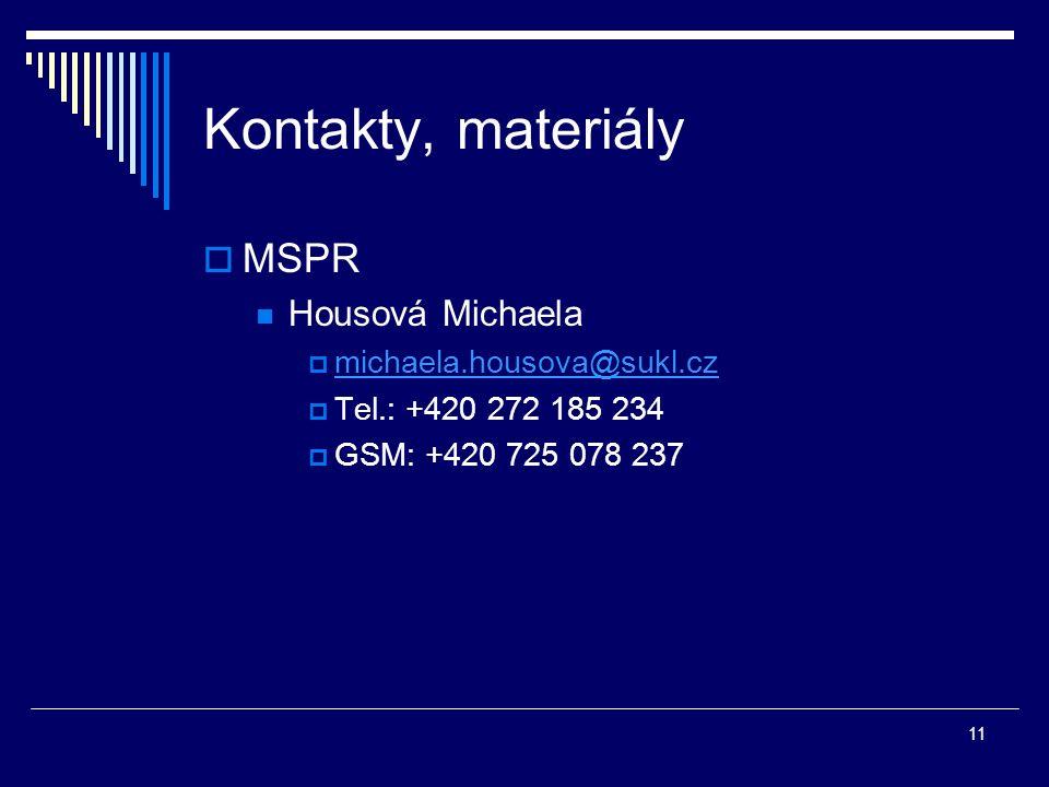 11 Kontakty, materiály  MSPR Housová Michaela  michaela.housova@sukl.cz michaela.housova@sukl.cz  Tel.: +420 272 185 234  GSM: +420 725 078 237