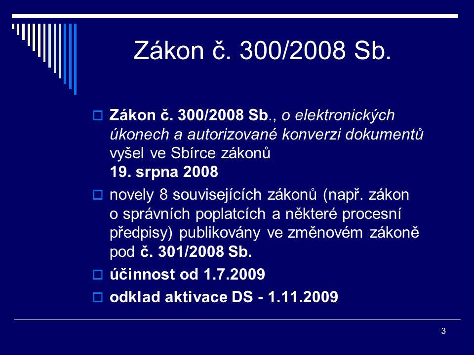 3 Zákon č. 300/2008 Sb.  Zákon č. 300/2008 Sb., o elektronických úkonech a autorizované konverzi dokumentů vyšel ve Sbírce zákonů 19. srpna 2008  no