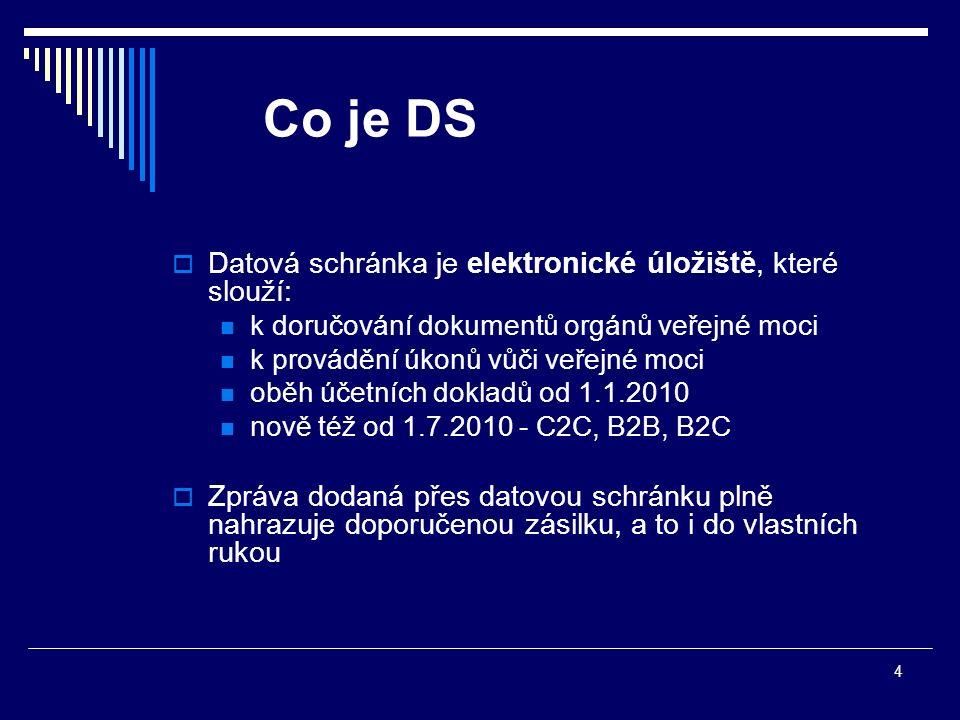 4 Co je DS  Datová schránka je elektronické úložiště, které slouží: k doručování dokumentů orgánů veřejné moci k provádění úkonů vůči veřejné moci ob