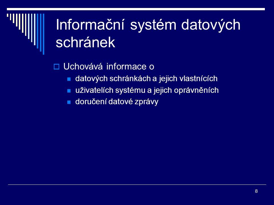 8 Informační systém datových schránek  Uchovává informace o datových schránkách a jejich vlastnících uživatelích systému a jejich oprávněních doručen