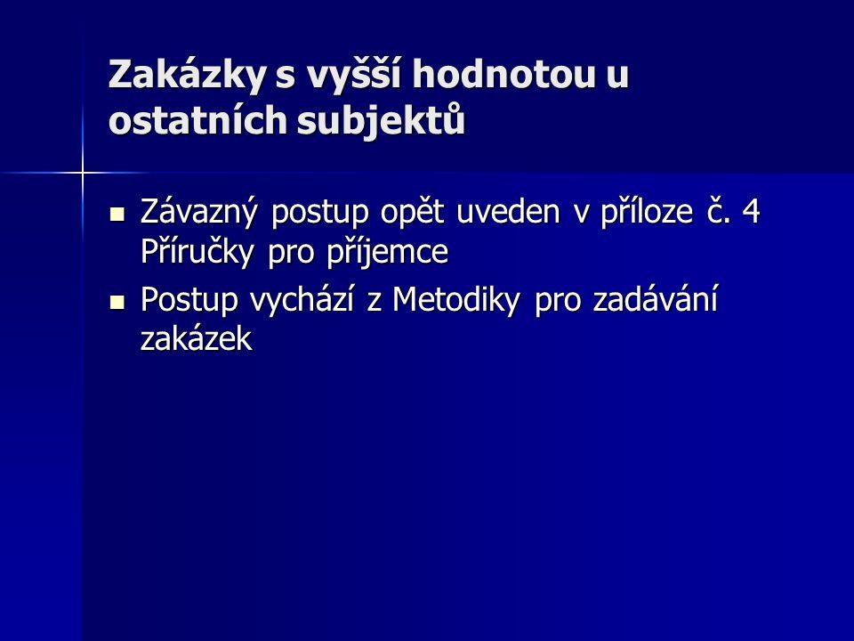 Zakázky s vyšší hodnotou u ostatních subjektů Závazný postup opět uveden v příloze č.