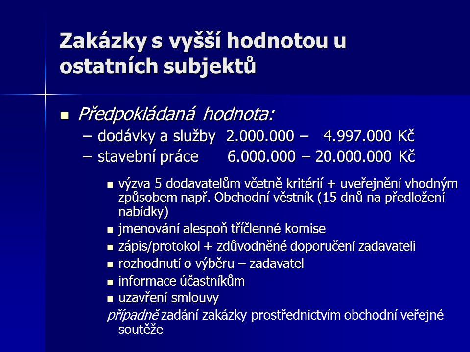 Zakázky s vyšší hodnotou u ostatních subjektů Předpokládaná hodnota: Předpokládaná hodnota: –dodávky a služby 2.000.000 – 4.997.000 Kč –stavební práce