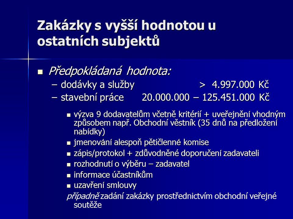 Zakázky s vyšší hodnotou u ostatních subjektů Předpokládaná hodnota: Předpokládaná hodnota: –dodávky a služby > 4.997.000 Kč –stavební práce 20.000.00