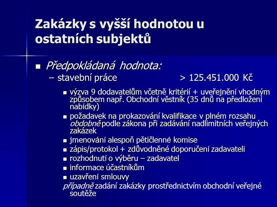 Zakázky s vyšší hodnotou u ostatních subjektů Předpokládaná hodnota: Předpokládaná hodnota: –stavební práce > 125.451.000 Kč výzva 9 dodavatelům včetn