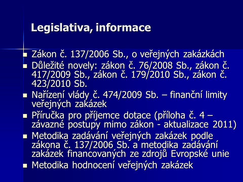 Legislativa, informace Zákon č. 137/2006 Sb., o veřejných zakázkách Zákon č. 137/2006 Sb., o veřejných zakázkách Důležité novely: zákon č. 76/2008 Sb.