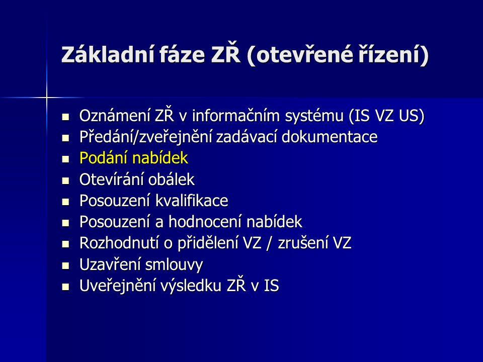 Základní fáze ZŘ (otevřené řízení) Oznámení ZŘ v informačním systému (IS VZ US) Oznámení ZŘ v informačním systému (IS VZ US) Předání/zveřejnění zadáva