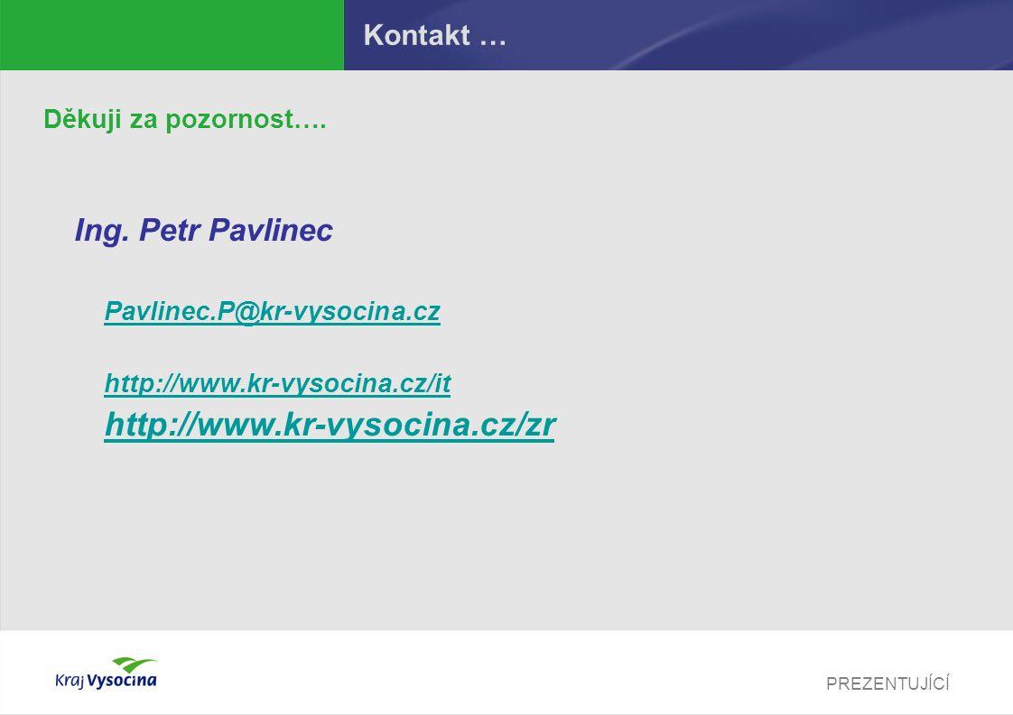 PREZENTUJÍCÍ Kontakt … Děkuji za pozornost…. Ing. Petr Pavlinec Pavlinec.P@kr-vysocina.cz http://www.kr-vysocina.cz/it http://www.kr-vysocina.cz/zr
