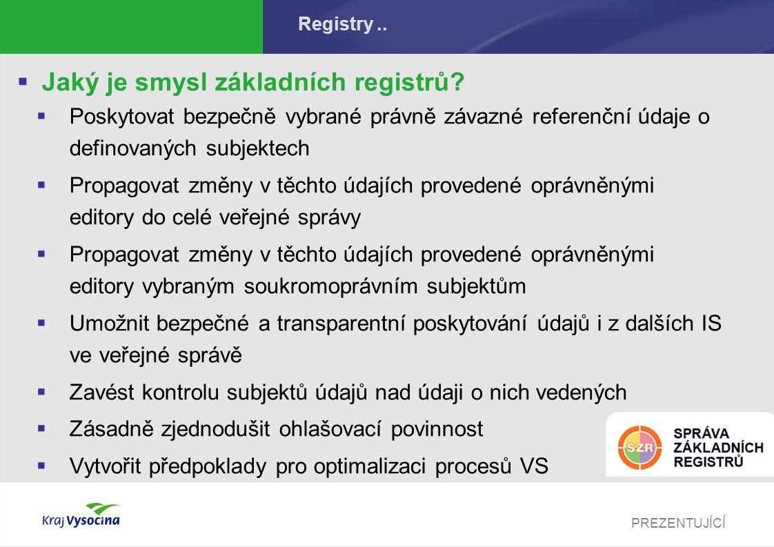 PREZENTUJÍCÍ Registry..  Jaký je smysl základních registrů?  Poskytovat bezpečně vybrané právně závazné referenční údaje o definovaných subjektech 