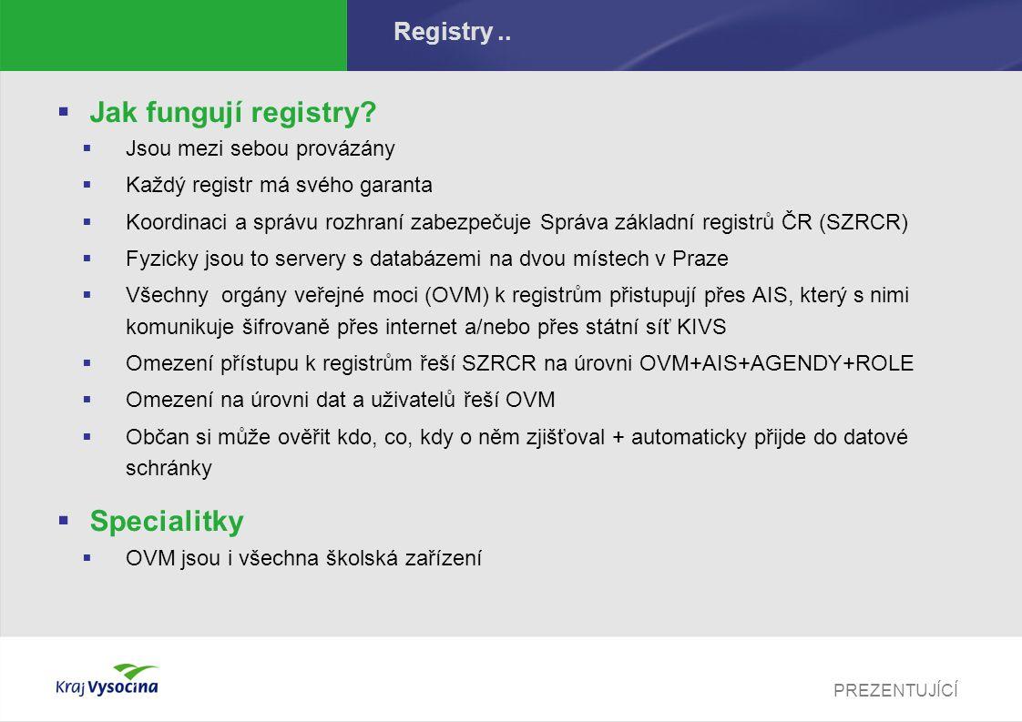 PREZENTUJÍCÍ Registry..  Jak fungují registry?  Jsou mezi sebou provázány  Každý registr má svého garanta  Koordinaci a správu rozhraní zabezpečuj