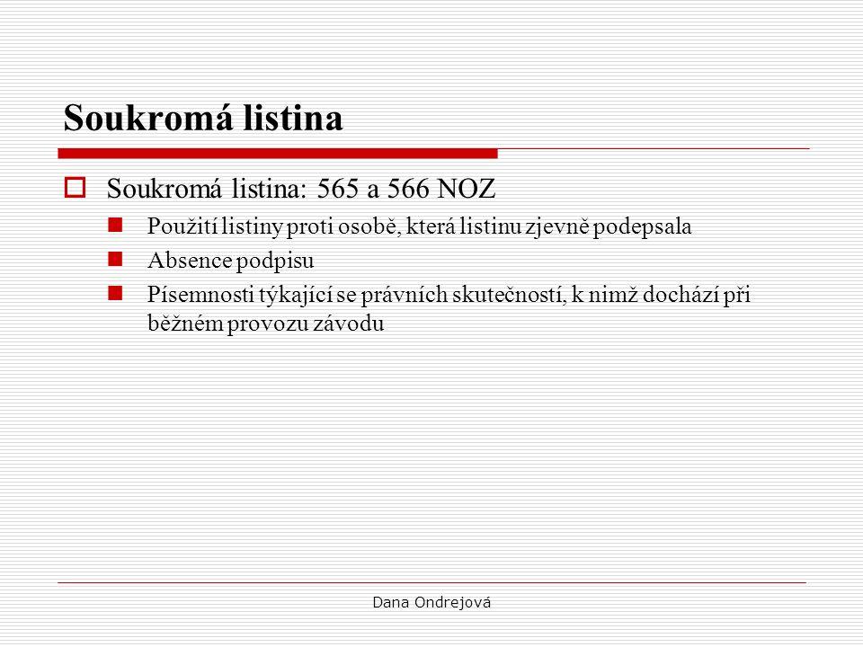 Soukromá listina  Soukromá listina: 565 a 566 NOZ Použití listiny proti osobě, která listinu zjevně podepsala Absence podpisu Písemnosti týkající se právních skutečností, k nimž dochází při běžném provozu závodu Dana Ondrejová