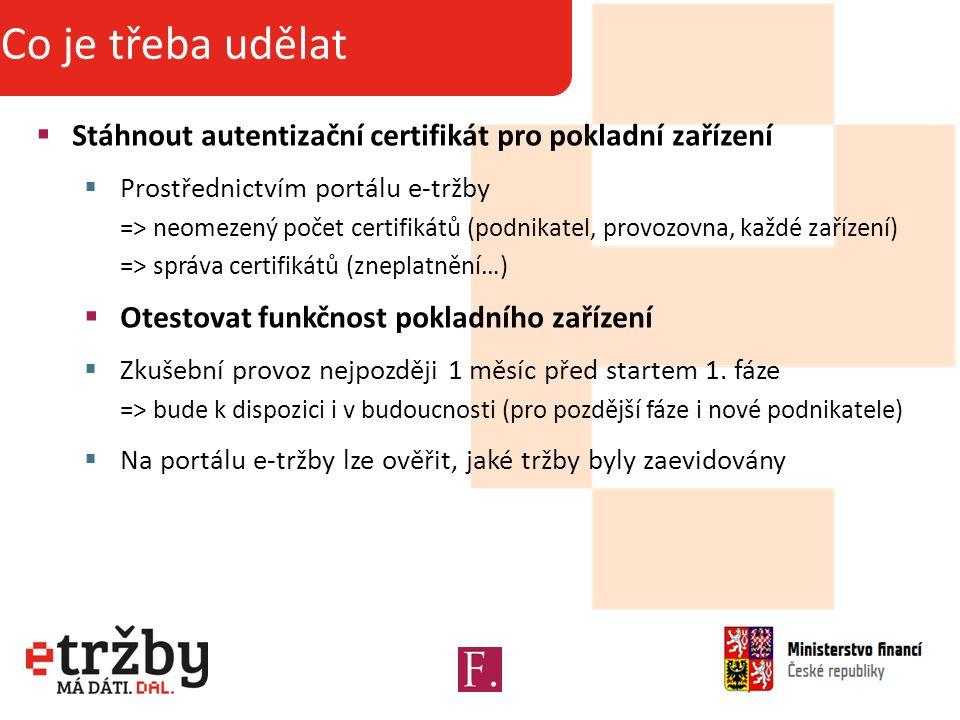 Základní informace o projektu Co je třeba udělat  Stáhnout autentizační certifikát pro pokladní zařízení  Prostřednictvím portálu e-tržby => neomezený počet certifikátů (podnikatel, provozovna, každé zařízení) => správa certifikátů (zneplatnění…)  Otestovat funkčnost pokladního zařízení  Zkušební provoz nejpozději 1 měsíc před startem 1.