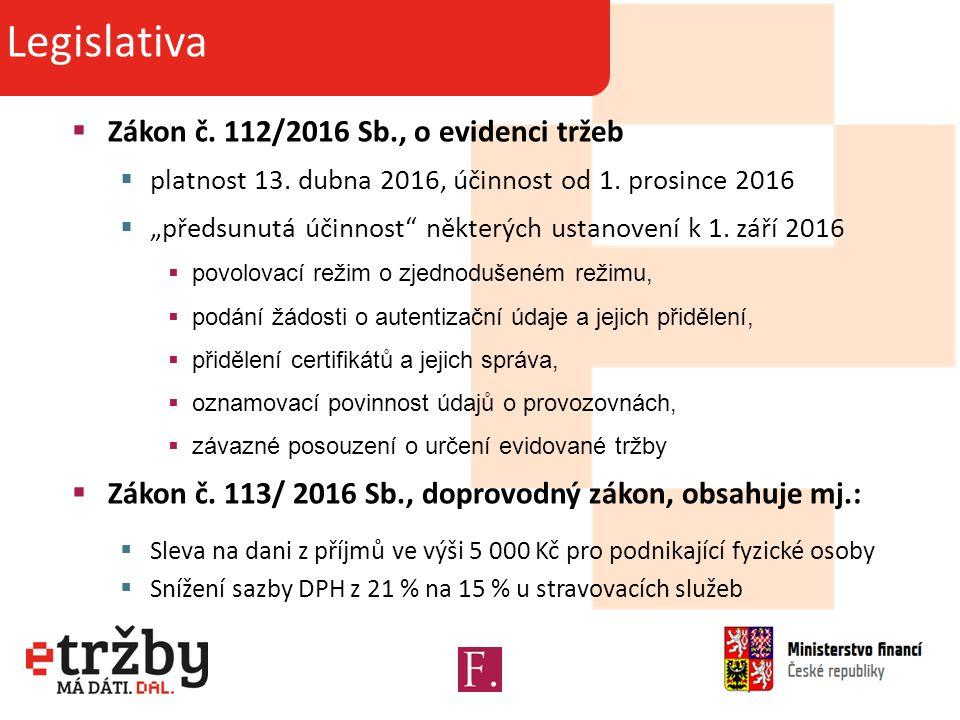  Zákon č. 112/2016 Sb., o evidenci tržeb  platnost 13.
