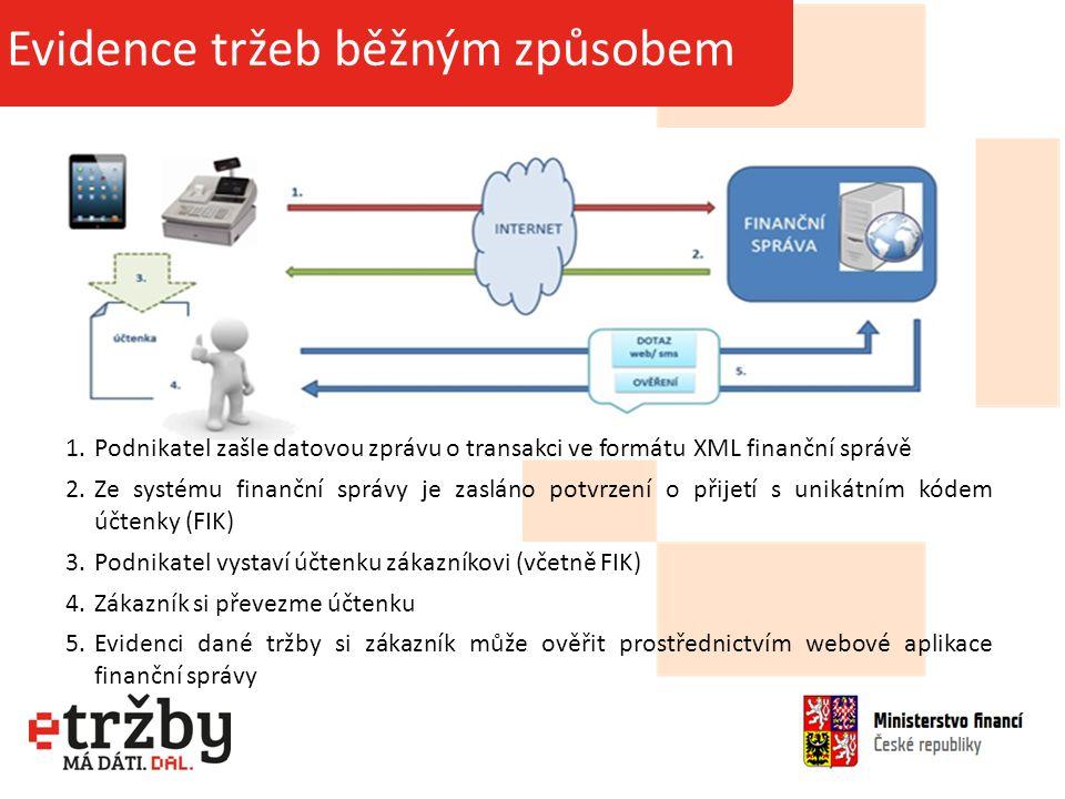 Základní informace o projektu Evidence tržeb běžným způsobem 1.Podnikatel zašle datovou zprávu o transakci ve formátu XML finanční správě 2.Ze systému finanční správy je zasláno potvrzení o přijetí s unikátním kódem účtenky (FIK) 3.Podnikatel vystaví účtenku zákazníkovi (včetně FIK) 4.Zákazník si převezme účtenku 5.Evidenci dané tržby si zákazník může ověřit prostřednictvím webové aplikace finanční správy