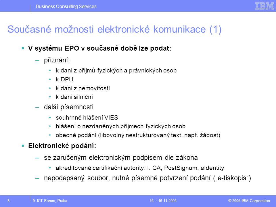 Business Consulting Services © 2005 IBM Corporation39. ICT Forum, Praha15. - 16.11.2005 Současné možnosti elektronické komunikace (1)  V systému EPO