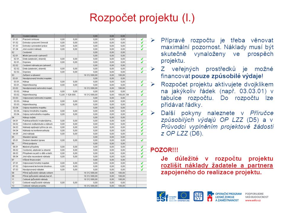 Rozpočet projektu (I.)  Přípravě rozpočtu je třeba věnovat maximální pozornost. Náklady musí být skutečně vynaloženy ve prospěch projektu.  Z veřejn