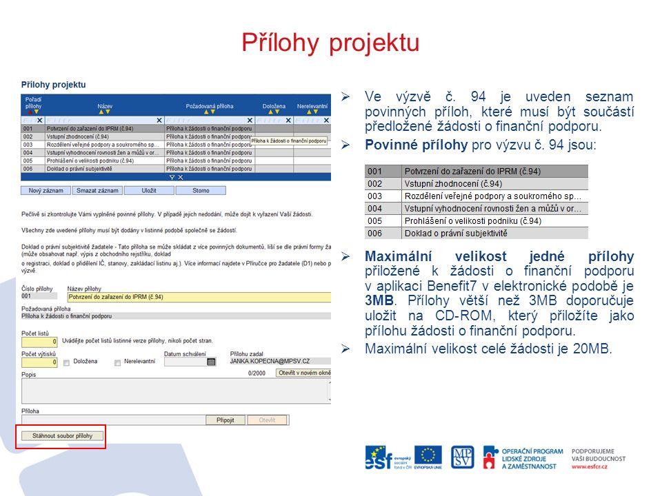 Přílohy projektu  Ve výzvě č. 94 je uveden seznam povinných příloh, které musí být součástí předložené žádosti o finanční podporu.  Povinné přílohy