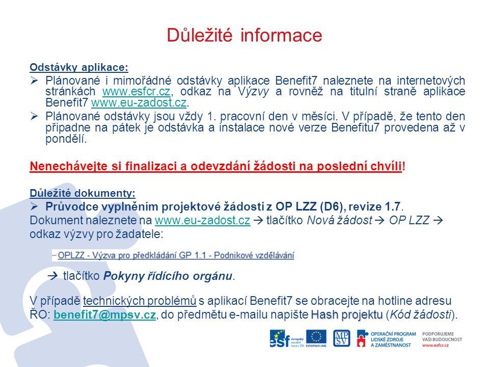 Důležité informace Odstávky aplikace:  Plánované i mimořádné odstávky aplikace Benefit7 naleznete na internetových stránkách www.esfcr.cz, odkaz na V