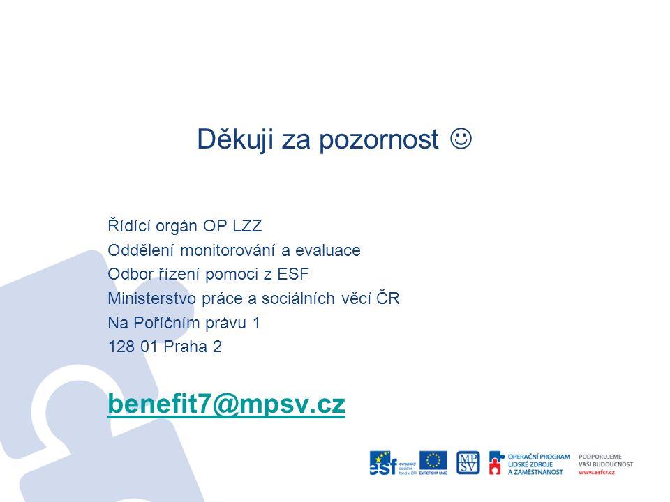 Děkuji za pozornost Řídící orgán OP LZZ Oddělení monitorování a evaluace Odbor řízení pomoci z ESF Ministerstvo práce a sociálních věcí ČR Na Poříčním