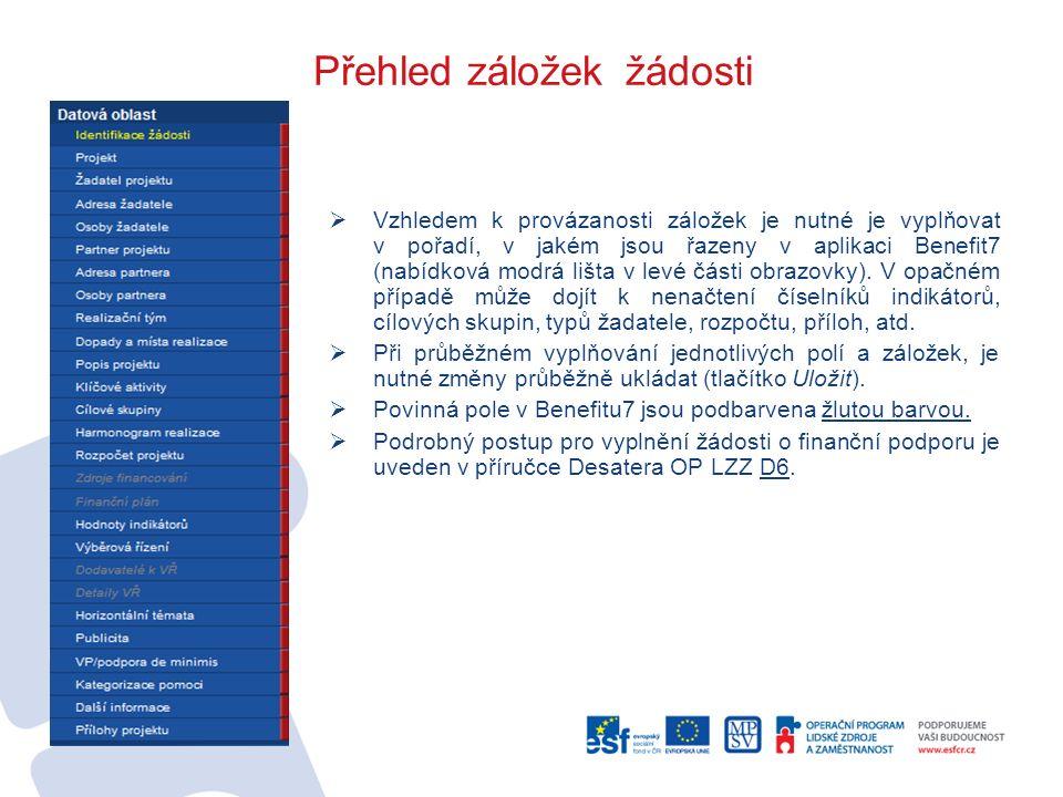 Přehled záložek žádosti  Vzhledem k provázanosti záložek je nutné je vyplňovat v pořadí, v jakém jsou řazeny v aplikaci Benefit7 (nabídková modrá liš