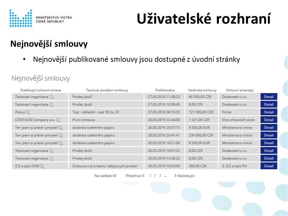 Nejnovější smlouvy Nejnovější publikované smlouvy jsou dostupné z úvodní stránky Uživatelské rozhraní