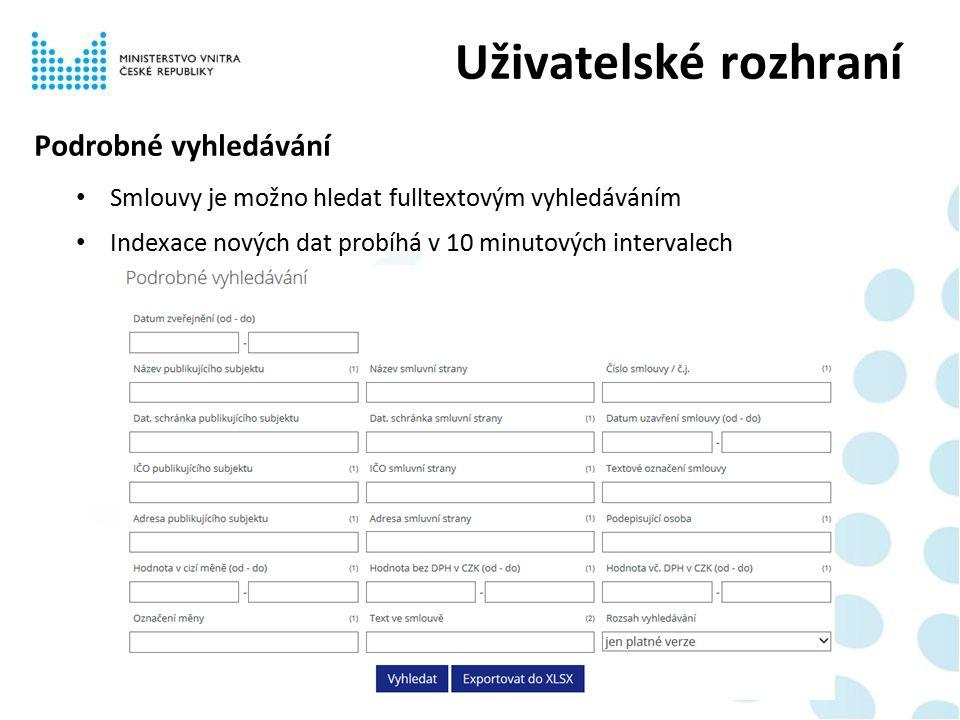 Podrobné vyhledávání Smlouvy je možno hledat fulltextovým vyhledáváním Indexace nových dat probíhá v 10 minutových intervalech Uživatelské rozhraní