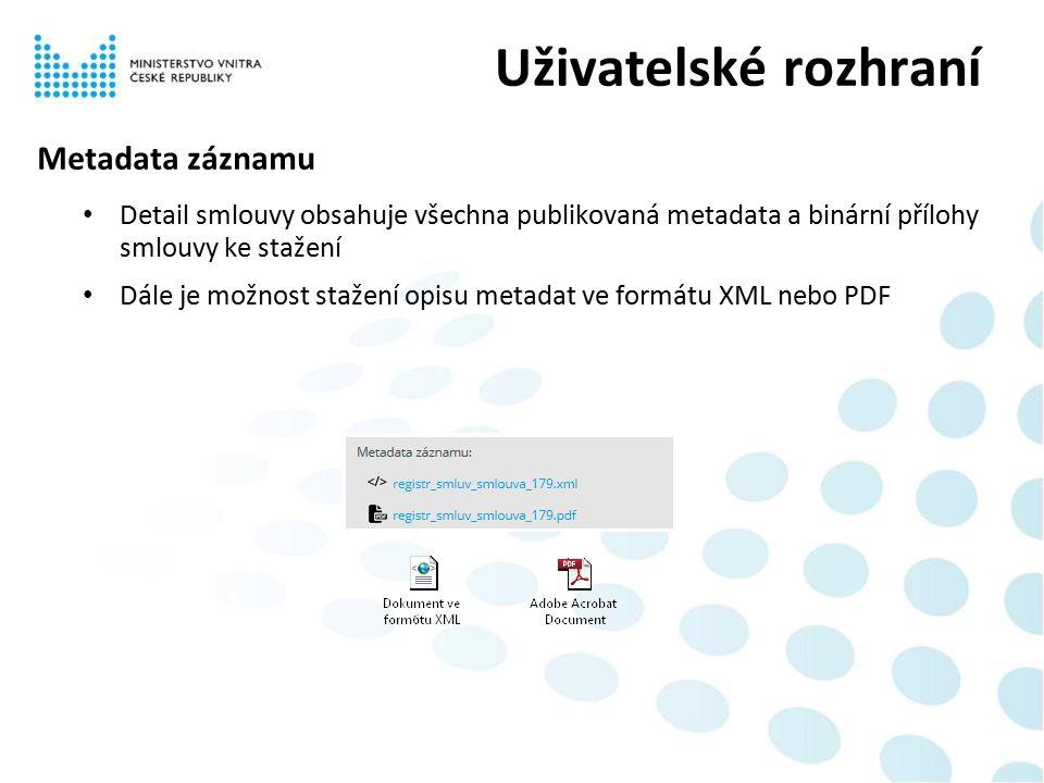 Metadata záznamu Detail smlouvy obsahuje všechna publikovaná metadata a binární přílohy smlouvy ke stažení Dále je možnost stažení opisu metadat ve formátu XML nebo PDF Uživatelské rozhraní