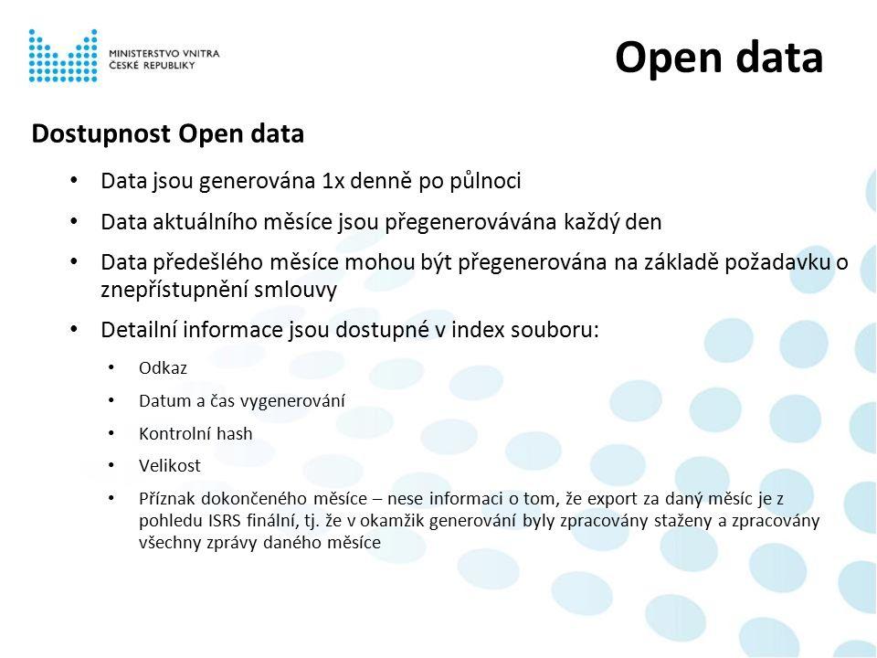 Dostupnost Open data Data jsou generována 1x denně po půlnoci Data aktuálního měsíce jsou přegenerovávána každý den Data předešlého měsíce mohou být přegenerována na základě požadavku o znepřístupnění smlouvy Detailní informace jsou dostupné v index souboru: Odkaz Datum a čas vygenerování Kontrolní hash Velikost Příznak dokončeného měsíce – nese informaci o tom, že export za daný měsíc je z pohledu ISRS finální, tj.