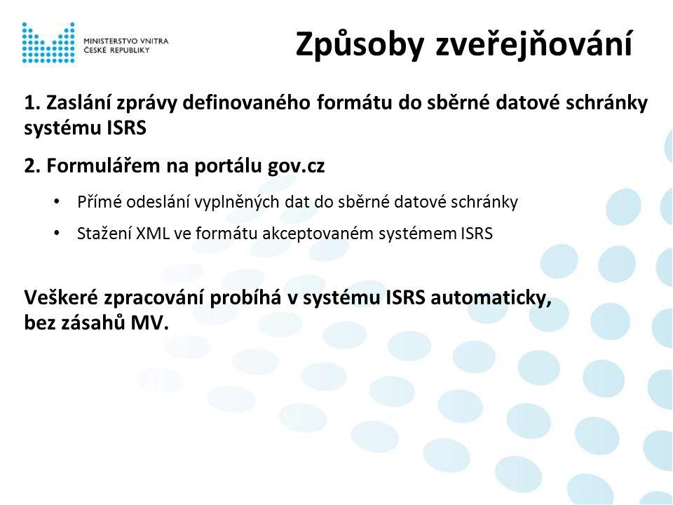 1. Zaslání zprávy definovaného formátu do sběrné datové schránky systému ISRS 2. Formulářem na portálu gov.cz Přímé odeslání vyplněných dat do sběrné