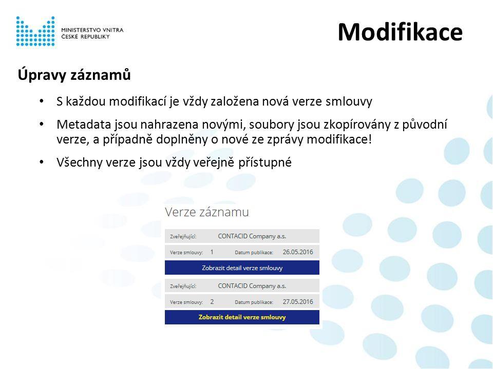 Úpravy záznamů S každou modifikací je vždy založena nová verze smlouvy Metadata jsou nahrazena novými, soubory jsou zkopírovány z původní verze, a případně doplněny o nové ze zprávy modifikace.