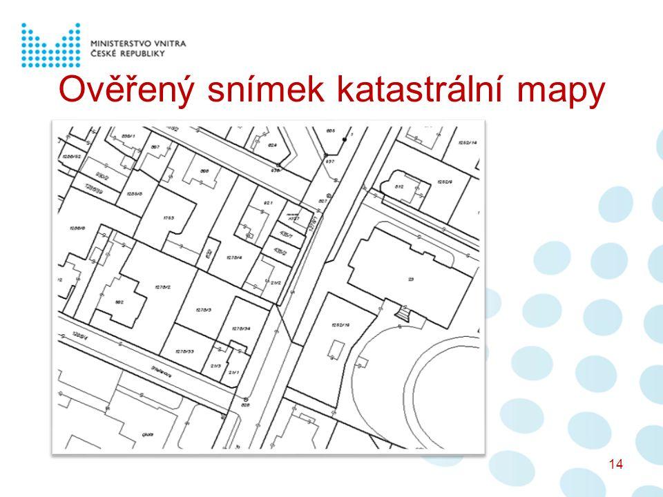 Ověřený snímek katastrální mapy 14