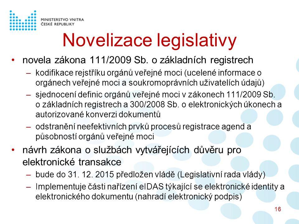 Novelizace legislativy novela zákona 111/2009 Sb.