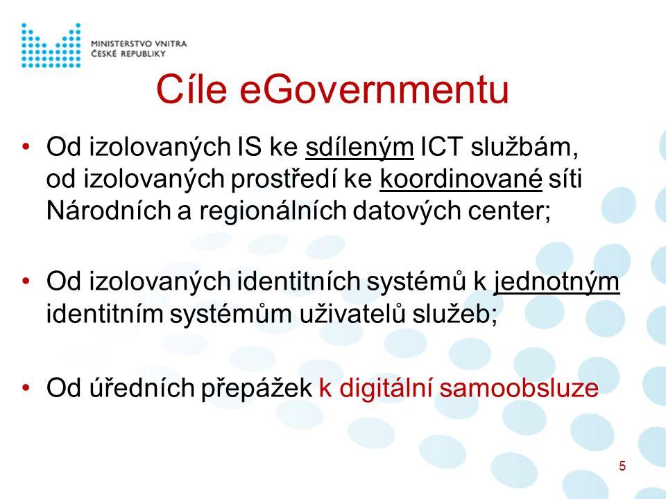 Cíle eGovernmentu Od izolovaných IS ke sdíleným ICT službám, od izolovaných prostředí ke koordinované síti Národních a regionálních datových center; Od izolovaných identitních systémů k jednotným identitním systémům uživatelů služeb; Od úředních přepážek k digitální samoobsluze 5