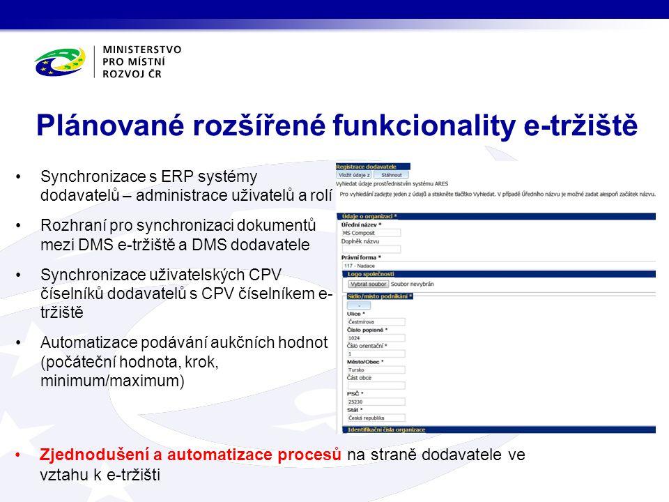 Synchronizace s ERP systémy dodavatelů – administrace uživatelů a rolí Rozhraní pro synchronizaci dokumentů mezi DMS e-tržiště a DMS dodavatele Synchronizace uživatelských CPV číselníků dodavatelů s CPV číselníkem e- tržiště Automatizace podávání aukčních hodnot (počáteční hodnota, krok, minimum/maximum) Plánované rozšířené funkcionality e-tržiště Zjednodušení a automatizace procesů na straně dodavatele ve vztahu k e-tržišti