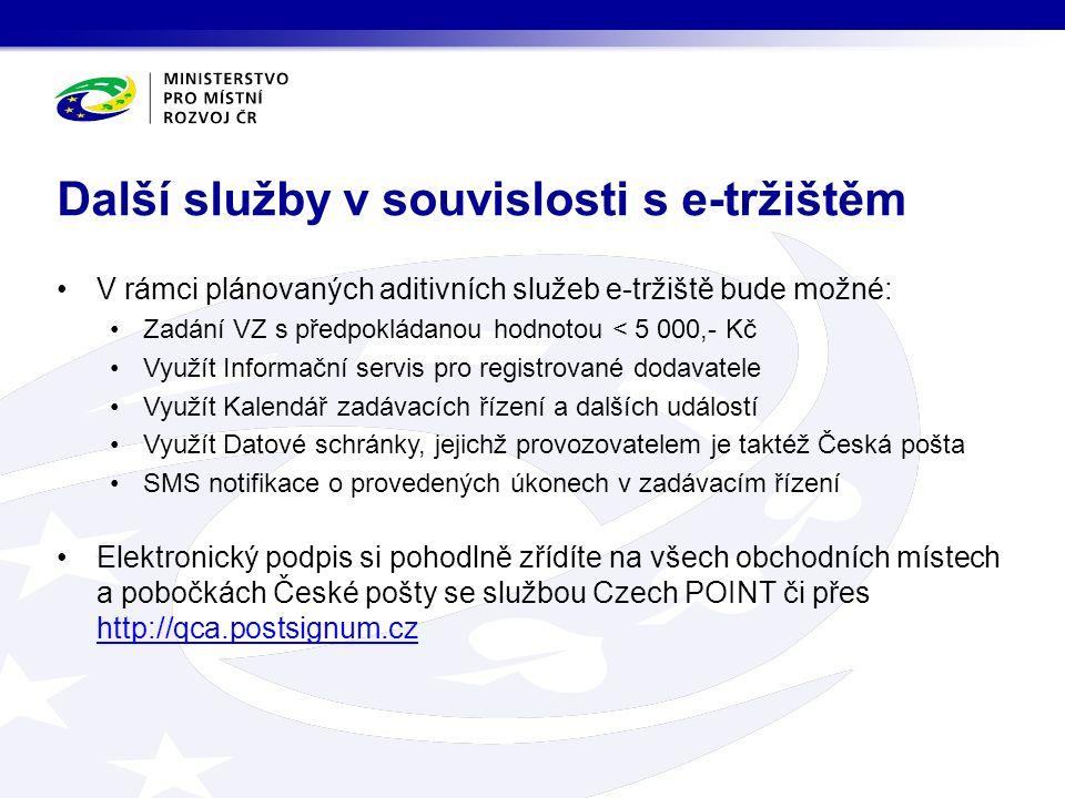 V rámci plánovaných aditivních služeb e-tržiště bude možné: Zadání VZ s předpokládanou hodnotou < 5 000,- Kč Využít Informační servis pro registrované dodavatele Využít Kalendář zadávacích řízení a dalších událostí Využít Datové schránky, jejichž provozovatelem je taktéž Česká pošta SMS notifikace o provedených úkonech v zadávacím řízení Elektronický podpis si pohodlně zřídíte na všech obchodních místech a pobočkách České pošty se službou Czech POINT či přes http://qca.postsignum.cz http://qca.postsignum.cz Další služby v souvislosti s e-tržištěm