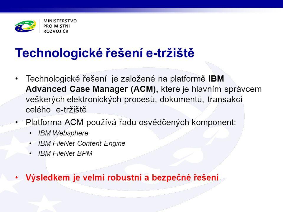 Technologické řešení je založené na platformě IBM Advanced Case Manager (ACM), které je hlavním správcem veškerých elektronických procesů, dokumentů, transakcí celého e-tržiště Platforma ACM používá řadu osvědčených komponent: IBM Websphere IBM FileNet Content Engine IBM FileNet BPM Výsledkem je velmi robustní a bezpečné řešení Technologické řešení e-tržiště