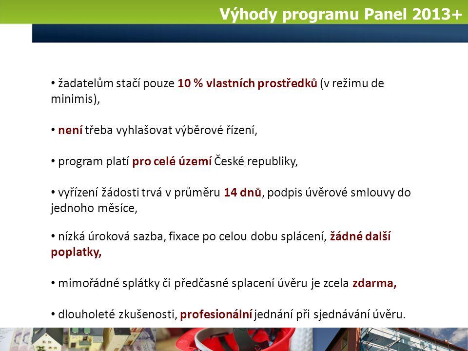 Výhody programu Panel 2013+ žadatelům stačí pouze 10 % vlastních prostředků (v režimu de minimis), není třeba vyhlašovat výběrové řízení, program platí pro celé území České republiky, vyřízení žádosti trvá v průměru 14 dnů, podpis úvěrové smlouvy do jednoho měsíce, nízká úroková sazba, fixace po celou dobu splácení, žádné další poplatky, mimořádné splátky či předčasné splacení úvěru je zcela zdarma, dlouholeté zkušenosti, profesionální jednání při sjednávání úvěru.
