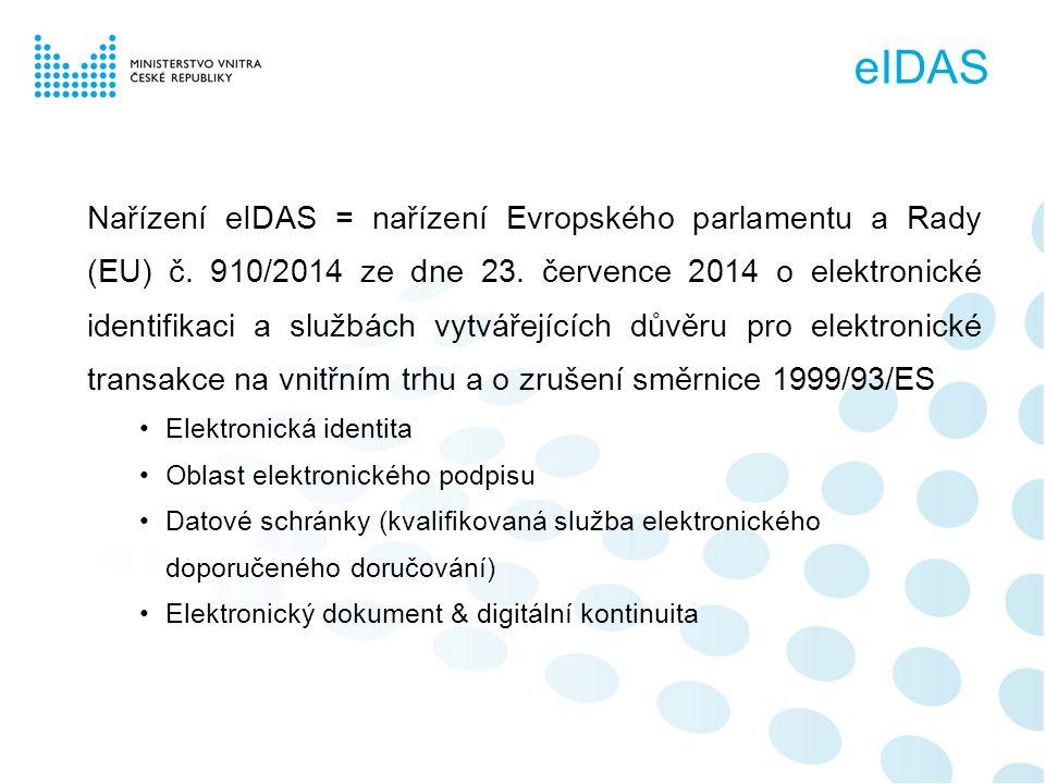Nařízení eIDAS = nařízení Evropského parlamentu a Rady (EU) č.