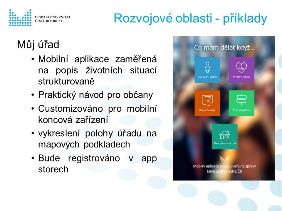 Můj úřad Mobilní aplikace zaměřená na popis životních situací strukturovaně Praktický návod pro občany Customizováno pro mobilní koncová zařízení vykreslení polohy úřadu na mapových podkladech Bude registrováno v app storech Rozvojové oblasti - příklady