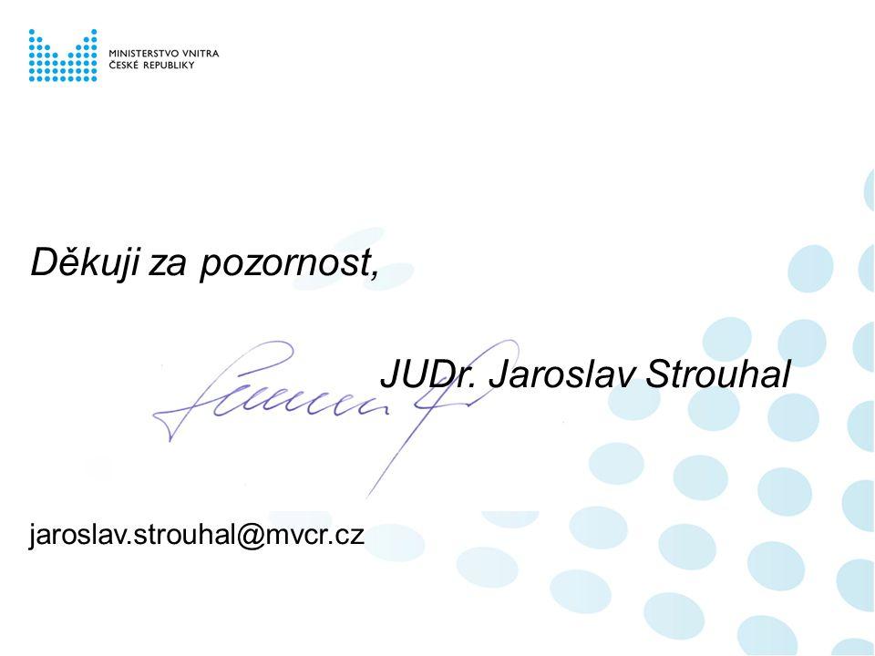 Děkuji za pozornost, JUDr. Jaroslav Strouhal jaroslav.strouhal@mvcr.cz