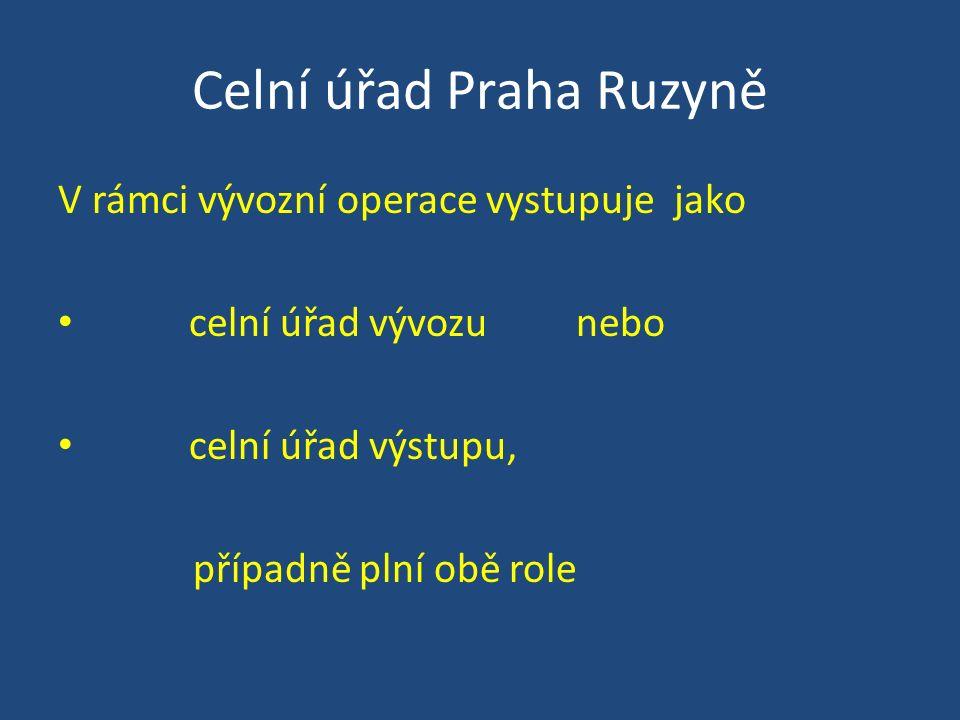 Celní úřad Praha Ruzyně V rámci vývozní operace vystupuje jako celní úřad vývozu nebo celní úřad výstupu, případně plní obě role