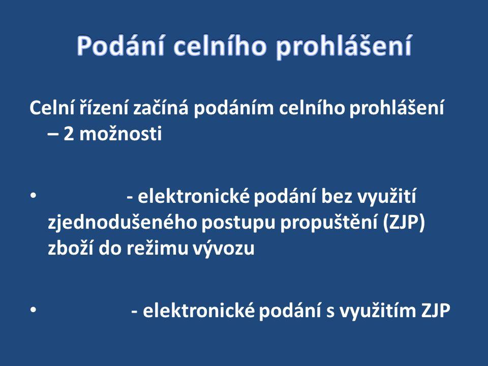 Celní řízení začíná podáním celního prohlášení – 2 možnosti - elektronické podání bez využití zjednodušeného postupu propuštění (ZJP) zboží do režimu vývozu - elektronické podání s využitím ZJP