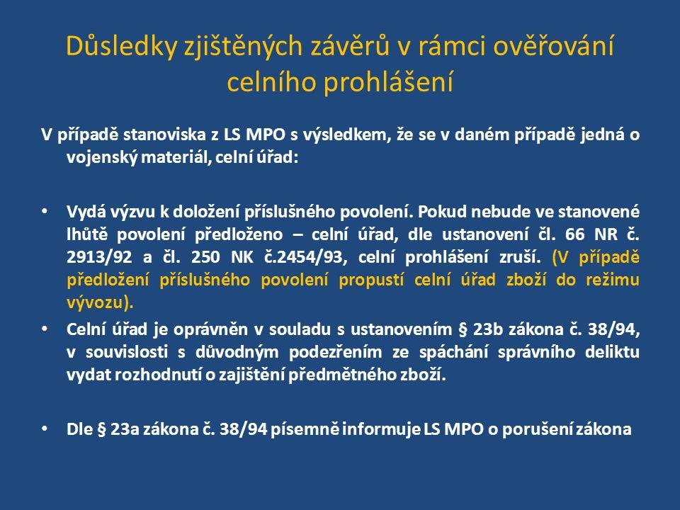 Důsledky zjištěných závěrů v rámci ověřování celního prohlášení V případě stanoviska z LS MPO s výsledkem, že se v daném případě jedná o vojenský materiál, celní úřad: Vydá výzvu k doložení příslušného povolení.