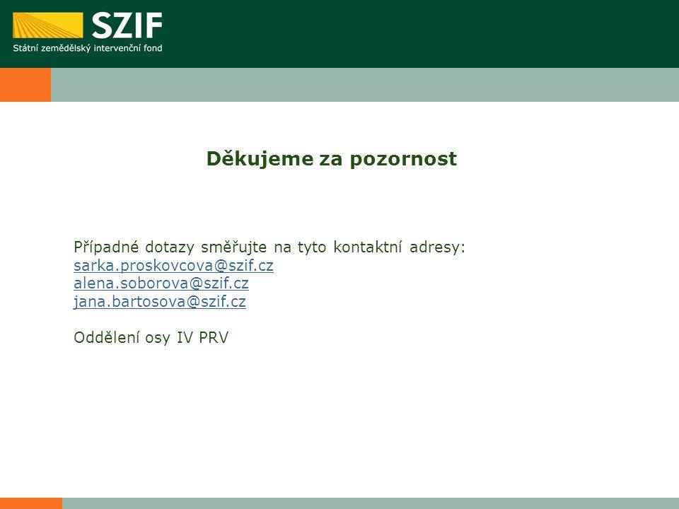 Děkujeme za pozornost Případné dotazy směřujte na tyto kontaktní adresy: sarka.proskovcova@szif.cz alena.soborova@szif.cz jana.bartosova@szif.cz Oddělení osy IV PRV