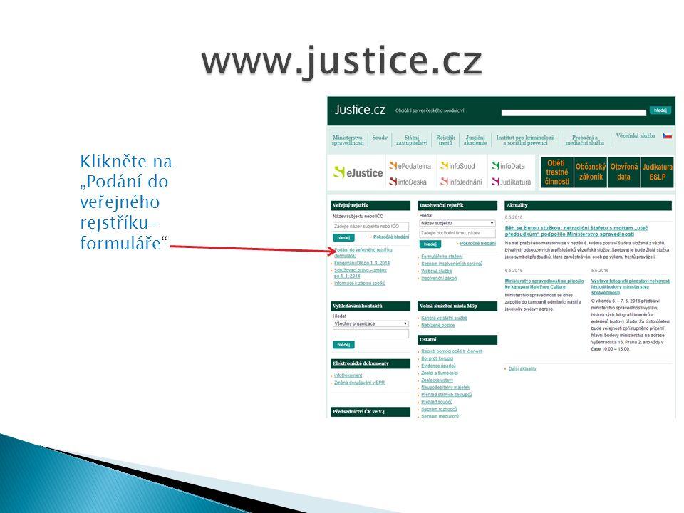 """Klikněte na """"Podání do veřejného rejstříku- formuláře"""