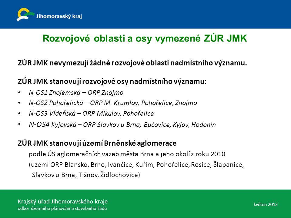 ZÚR JMK nevymezují žádné rozvojové oblasti nadmístního významu. ZÚR JMK stanovují rozvojové osy nadmístního významu: N-OS1 Znojemská – ORP Znojmo N-OS