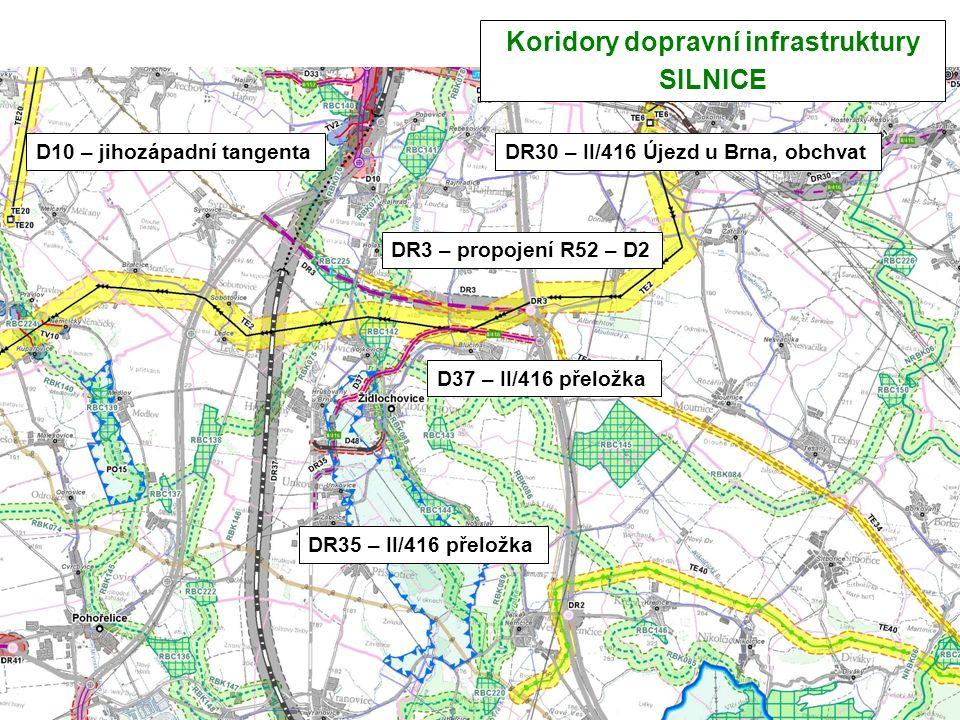 Koridory dopravní infrastruktury SILNICE D10 – jihozápadní tangenta D37 – II/416 přeložka DR35 – II/416 přeložka DR3 – propojení R52 – D2 DR30 – II/41