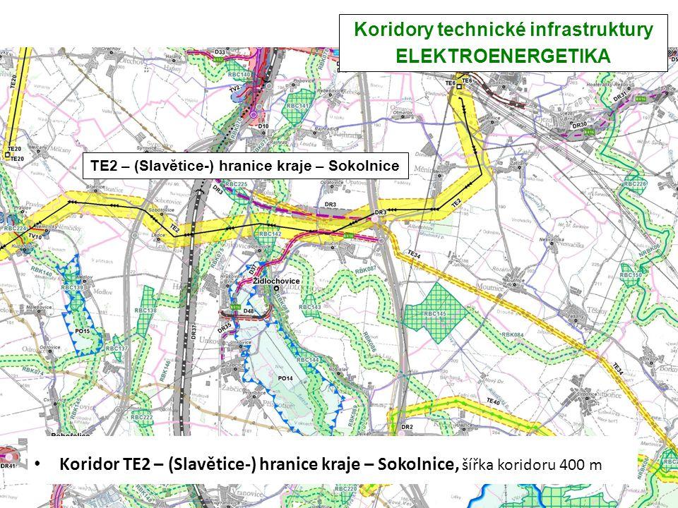 Koridory technické infrastruktury ELEKTROENERGETIKA Koridor TE2 – (Slavětice-) hranice kraje – Sokolnice, šířka koridoru 400 m TE2 – (Slavětice-) hran