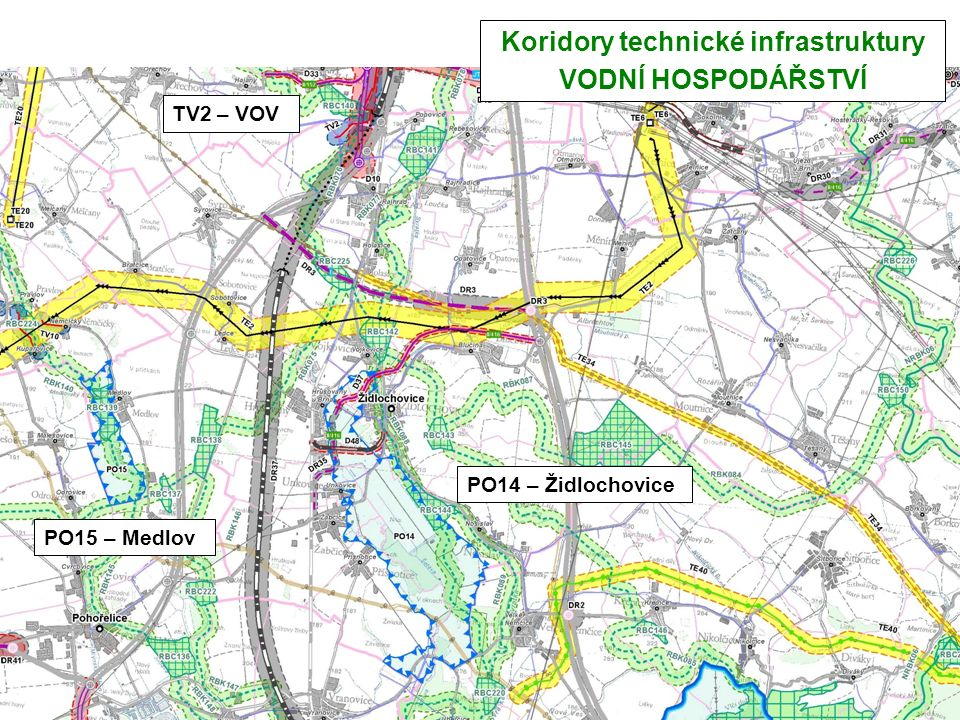 Koridory technické infrastruktury VODNÍ HOSPODÁŘSTVÍ TV2 – VOV PO15 – Medlov PO14 – Židlochovice