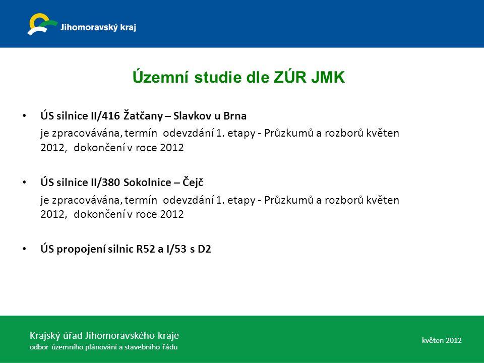 ÚS silnice II/416 Žatčany – Slavkov u Brna je zpracovávána, termín odevzdání 1. etapy - Průzkumů a rozborů květen 2012, dokončení v roce 2012 ÚS silni