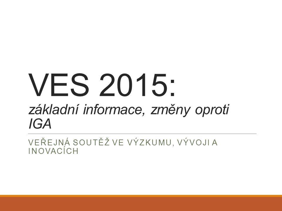 VES 2015: základní informace, změny oproti IGA VEŘEJNÁ SOUTĚŽ VE VÝZKUMU, VÝVOJI A INOVACÍCH
